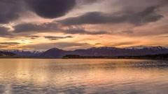 Beautiful Sunset And Mountain Reflection, Twizel, NZ Stock Footage