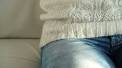 Woman in sweater and jeans steadicam 4K. Stock Footage