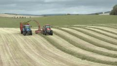 Silage making on a farm in the Scottish Borders Stock Footage