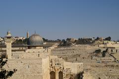 Al Aqsa mosque and minaret - islam in a holy land - stock photo