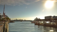 Morning Commuter Boat Docking, Circular Quay, Sydney. Timelapse Pan Right Stock Footage