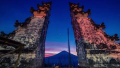 4K Timelapse. Sunset into night at the gates of temple Stock Footage