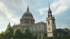 Daytime time-lapse of jet trails over St Paul's Cathedral, London Stock Footage