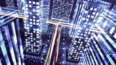 Digital Night City - Motion Graphics Stock Footage