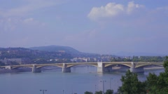 A city view of Budapest - river and a bridge Stock Footage