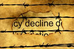 Decline text on paper hole against barbwire Stock Illustration