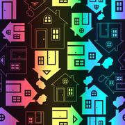 Home sweet home house silhouette and outline seamless pattern - stock illustration