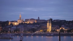 A boat on the river in front of the castle in Budapest Stock Footage