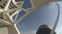City of Arts and Sciences in Valencia (El Agora, Calatrava bridge, pan tilt) Stock Footage