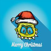 Stock Illustration of vector monster face character in santa red hat