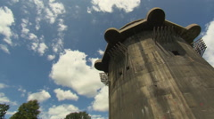 Flak tower in Viennese park (pan shot) Stock Footage