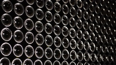 Stack of wine bottles Stock Footage