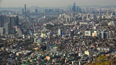 Bird's-eye view of Seoul city from the Namsan Mountain Stock Footage