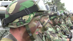 Tough and brave painted Portuguese marine soldiers with helmet Stock Footage