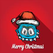 vector monster face character in santa red hat - stock illustration
