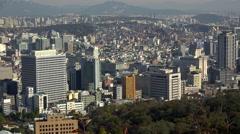Bird's-eye view of Seoul city from the Namsan Mountain. South Korea. Stock Footage