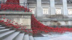 Ceramic poppies liverpool the weeping window pull or rack focus Stock Footage