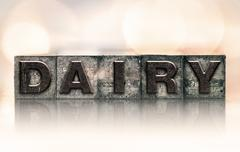 Dairy Concept Vintage Letterpress Type Stock Photos