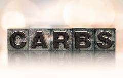 Carbs Concept Vintage Letterpress Type Stock Photos