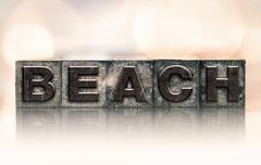 Beach Concept Vintage Letterpress Type - stock photo