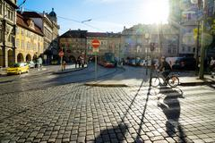 PRAGUE, CZECH REPUBLIC - NOVEMBER 08, 2015: People on the streets of Prague Stock Photos