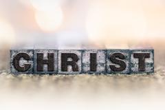 Christ Concept Vintage Letterpress Type Stock Photos