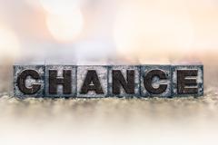 Chance Concept Vintage Letterpress Type - stock photo