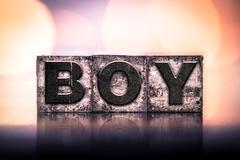 Stock Photo of Boy Concept Vintage Letterpress Type