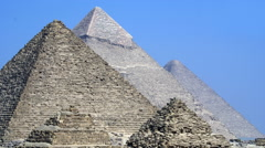 Pyramids of Egypt Showing the Details Against a Blue Sky. Stock Footage