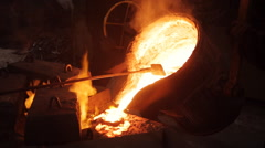 Water molten metal Being poured from the crucible Stock Footage