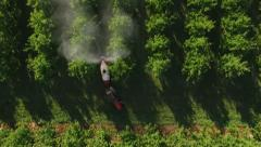 Overhead aerial view of orchard spraying Stock Footage