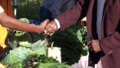 Pan across healthy food to handshake Stock Footage