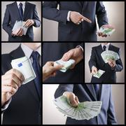 Corruption and business collage - stock photo