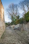 Ancient medieval road that leads from the village of Soave (Italy) to the cas Stock Photos
