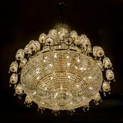Chrystal chandelier with black background - stock photo