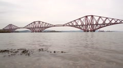 Static shot of Firth of Forth with Forth Rail Bridge in background  Stock Footage