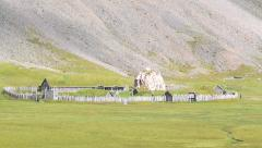 isolated ancient viking village, panoramic - stock footage