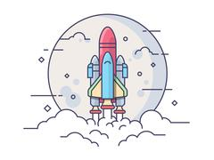 Startup space rocket Stock Illustration