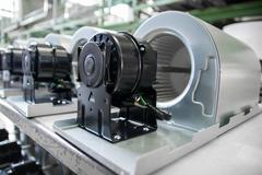 fan motors on the rollers gravitational ready to be used - stock photo