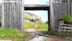 Ancient village gate and walls, dolly movement Stock Footage
