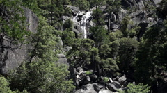 Water Cascading Down Over Granite Rock Yosemite California Stock Footage