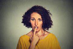 Surprised girl funny looking woman with disbelief speechless face expression Stock Photos