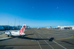 passenger airliner at Sydney Airport - stock photo