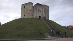 York castle, also known as Clifford's tower medieval Norman defenses Stock Footage