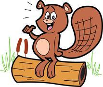 Cartoon Beaver On Log - stock illustration