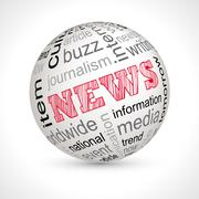 News theme sphere with keywords Stock Illustration