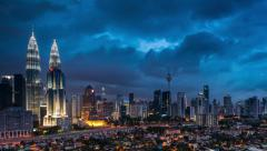 Time Lapse of majestic Sunset at Kuala Lumpur City Centre Stock Footage