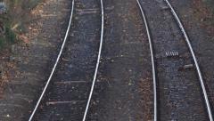 Railway train tracks pull or rack focus Stock Footage