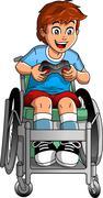 Wheelchair Gamer - stock illustration