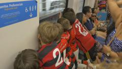 Children on the subway Stock Footage